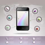 Smartphone infographic mall Fotografering för Bildbyråer
