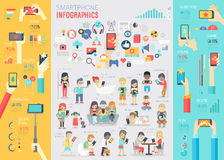 Smartphone Infographic set with charts and other elements. royalty free illustration