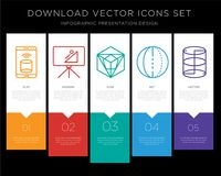 Smartphone infographics design icon vector. 5 vector icons such as Smartphone, Blackboard, Icosahedron, Sphere, Cylinder for infographic, layout, annual report Stock Images