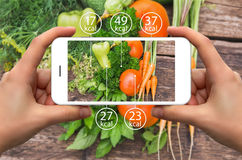 Smartphone with information of calories in vegetables. Stock Photo