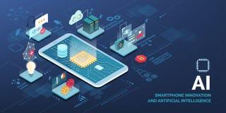 Smartphone inovativo com aplicações do AI ilustração royalty free
