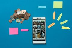 Influencer, a job that give you good money. Smartphone with the Instagram application main page displayed, next to the arrow and money, indicating the influence royalty free stock image