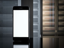 Smartphone in interior of server room. 3d rendering Royalty Free Stock Photos