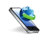 Smartphone and international globe illustration Royalty Free Stock Photos