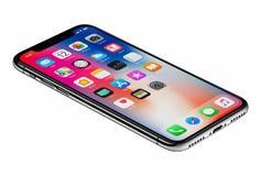 Smartphone iPhone x Яблока взгляда перспективы новый изолированный на белой предпосылке Стоковое Фото