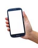 Smartphone isolerade på vit bakgrund Arkivfoton