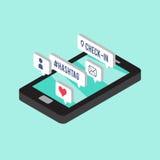 Smartphone isométrico stock de ilustración