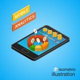 Smartphone isométrico com gráficos Conceito móvel da analítica Fotografia de Stock Royalty Free