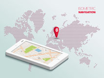 Smartphone isométrico con el mapa Imagen de archivo