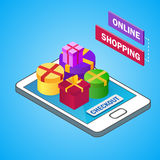 Smartphone isométrico con las cajas de regalo coloridas Venta, tema del descuento Concepto en línea de las compras Ilustración de Fotografía de archivo