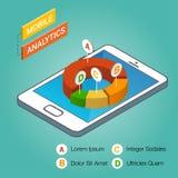 Smartphone isométrico con los gráficos en la proyección isométrica Concepto móvil del analytics Plantilla infographic moderna Foto de archivo