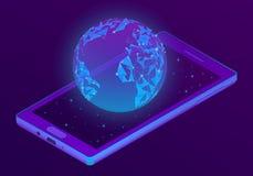Smartphone isométrico del vector 3d con el holograma del mundo stock de ilustración