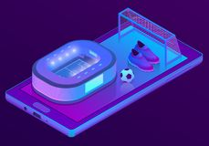 Smartphone isométrico do vetor 3d com estádio de futebol Fotos de Stock Royalty Free
