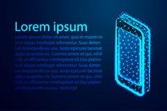 Smartphone isométrico, polivinílico bajo del extracto, triángulo, punto, línea, polígono Brille el fondo azul, ejemplo del vector libre illustration