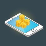 Smartphone isométrique avec des pièces d'or Opérations bancaires mobiles et concept en ligne de paiement Illustration plate moder Photo libre de droits