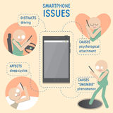 Smartphone issues infographics. Beige background. People figures. Royalty Free Stock Image
