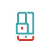 Smartphone kędziorka ekranu błękita i czerwieni wektor Obraz Royalty Free