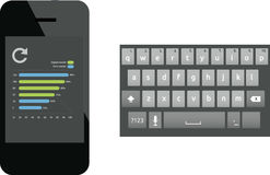 Smartphone and keyboard. Illustrated smart phone and keyboard Royalty Free Stock Photography