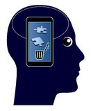 Smartphone kills your Memory. The overuse of mobile phones with damaging side effects of your brain Stock Photos