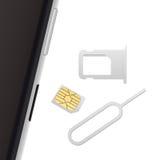 Smartphone, Klein Nano Sim Card, Sim Card Tray en werpt Speld uit Vectordievoorwerpen op wit worden geïsoleerd Realistische vecto Royalty-vrije Stock Afbeeldingen