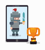Smartphone knight trophy online game Stock Photo