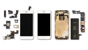 Smartphone-Komponentenisolat auf Weiß stockfotos