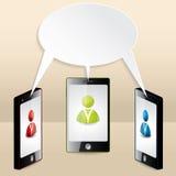 Smartphone konferens som illustreras med anförandebubblan Royaltyfri Foto