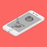 Smartphone låste på säker dörr Royaltyfria Bilder