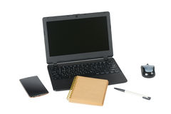 Smartphone, laptop computer and memo note with ballpoint pen Royalty Free Stock Photos