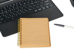 Smartphone, laptop computer and memo note with ballpoint pen Royalty Free Stock Photography