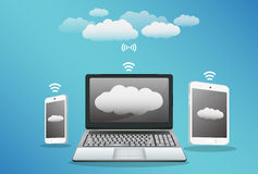Smartphone laptop tablet with cloud data transfer Stock Image