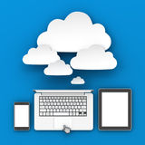 Smartphone, laptop and tablet connecting to cloud Stock Images