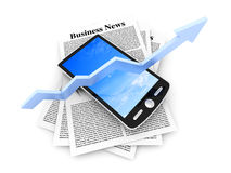 On the rise - Smartphone in the Business News. A smartphone in the latest business news. 3d rendered Illustration Royalty Free Stock Photos