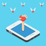Smartphone le concept du réseau social Image libre de droits