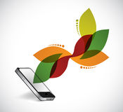 Smartphone and leave design illustration. Graphic over white Stock Image