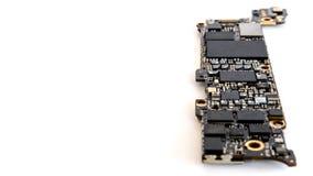 Smartphone-Leiterplatteisolat, selektiver Fokus Stockfotografie