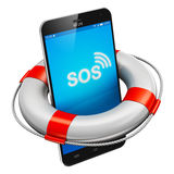 Smartphone and lifesaver buoy. Creative abstract mobile security, emergency services and electronic devices repair and maintenance concept: modern black glossy Stock Images