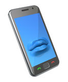 Smartphone with the lips Stock Photography