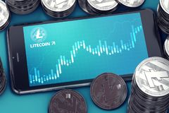 Horizontal oriented smartphone with Litecoin growth chart on-screen among piles of silver Litecoins. Smartphone with Litecoin growth chart on-screen among piles Stock Images