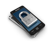 Smartphone with lock. Security concept. Stock Photo