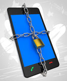 Smartphone Locked Means Security Secured And Protect Stock Images