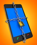 Smartphone Locked Shows Web Protect And Unauthorized Royalty Free Stock Images