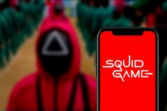 Smartphone with the logo of `The Squid Game