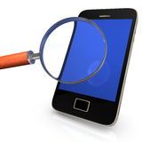 Smartphone With Loupe Royalty Free Stock Images