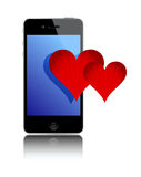 Smartphone and love hearts Royalty Free Stock Images