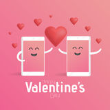 Smartphone love valentines day concept. Cute cartoon character phone with hands, eyes and smile Royalty Free Stock Photo