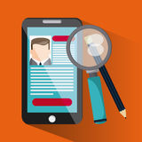 Smartphone lupe pencil businessman cv document icon. Company rosource design. colorful and flat illustration Stock Photography