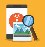 Smartphone with lupe and seo design Royalty Free Stock Photos