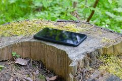 Smartphone lying on the nature royalty free stock photo