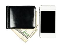 Smartphone lying near the purse with United States dollars, isol Stock Photos